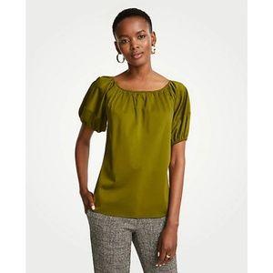 Ann Taylor Bubble Sleeve Top Green